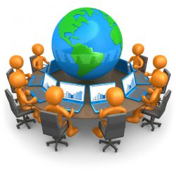 Royalty-free 3d computer generated business clipart picture of a group of orange people working on laptops at a round table with a globe in the center, on a white background with shading.